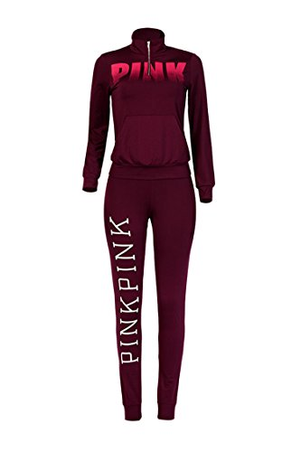 Women's Fall Long Sleeve Kangaroo Pocket Hoodies 2 Piece Sweatsuits Tracksuits, Wine Red-fleece Lined,  XL=US-L