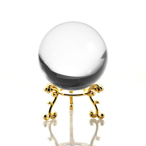 Amlong Crystal Clear Crystal Ball 60mm (2.3 in.) Including Golden Flower Stand and Gift Package