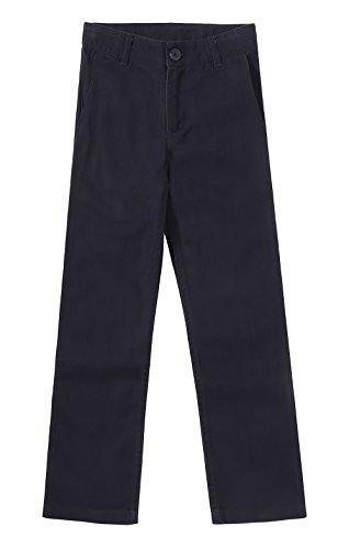 Bienzoe Girl's School Uniforms Stretchy Twill Adjust Waist Flat Front Pants Navy Size 8 ()