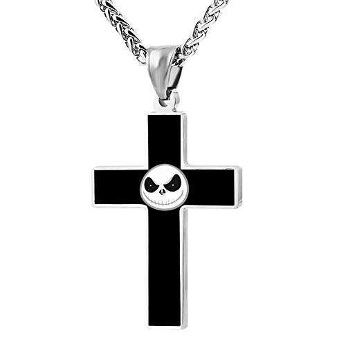 Custume Night-mare Before Christmas Cross Necklace Pendant Crucifix Prayer Chain Fashion Ornaments]()
