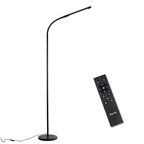 Barrina LED Floor lamp for reading, Dimmable and Color Adjustable, 3000K-5500K, 12W, with Remote Control Sensor Touch Switch, Flexible Standing Light for Living Room, Bedroom, Office, Black