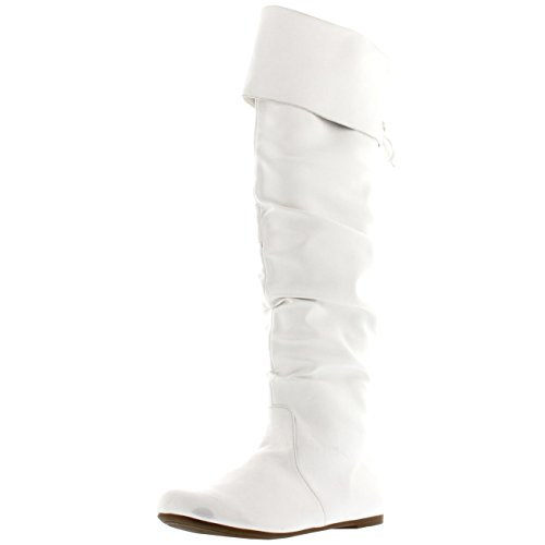 Grand Pirate Haute Mode Cuisse Equitation Femmes Hiver Chaussures Blanc Botte B017YpwqW