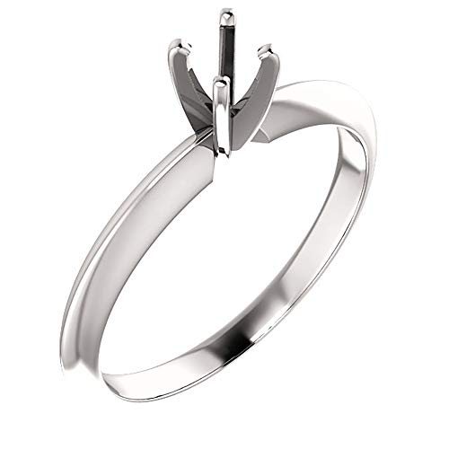 6 Prong Solitaire Mounting - Duhaas 14K White Gold 3.5-3.9 mm 1/5 CT Round 4 Prong Standard Weight Solitaire Engagement Ring Mounting Size 6