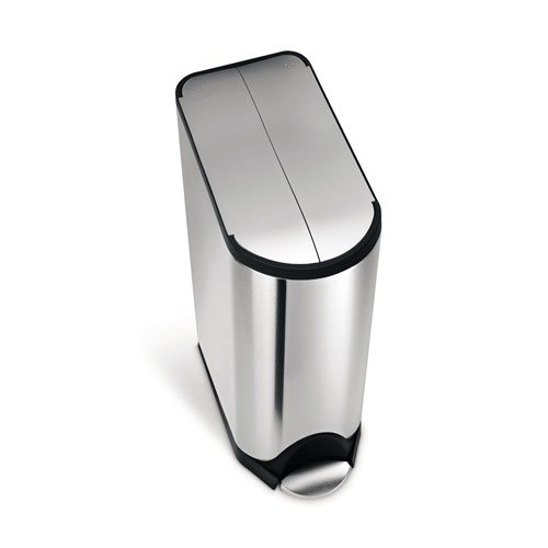 simplehuman Butterfly Step Recycler, Fingerprint-Proof Brushed Stainless Steel, 20+20 Liters/ 5.3+5.3 Gallons by simplehuman