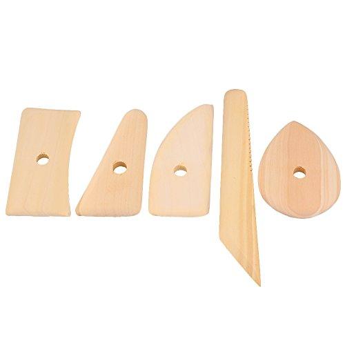 (Yibuy 5PCS Pottery Tools Clay Wood Skeleton Knife Fine Arts)
