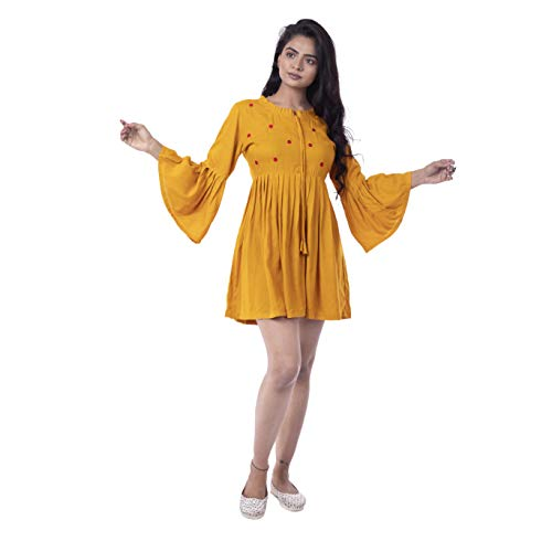 Sahiba Impex Party Bell Sleeves Yellow Embroidered Tops