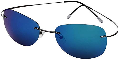 Ultra Light Weight Titanium Light weight Rimless Gunmetal Frame with Blue Mirror Lens, Case Included ()