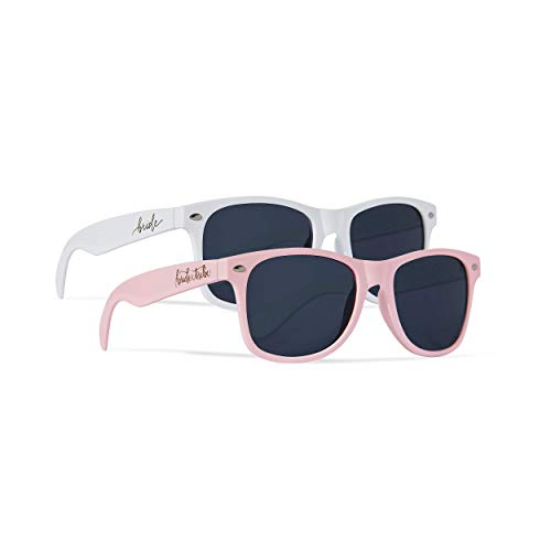 Bride Tribe + Bride Sunglasses - Gifts, Favors, Accessories for Bachelorette Parties, Weddings, and Bridal Showers (Light Pink, 10 Piece Set)
