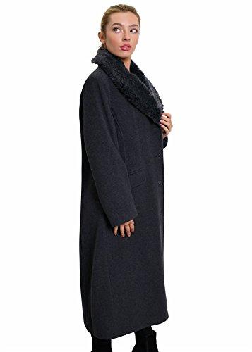 Lana de piel Mezcla abrigo CACHEMIR invierno La cuello sintética Bv7x7fwA