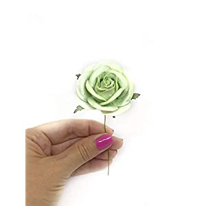 """2"""" Green Paper Flowers Paper Rose Artificial Flowers Fake Flowers Artificial Roses Paper Craft Flowers Paper Rose Flower Mulberry Paper Flowers 10 Pieces 5"""