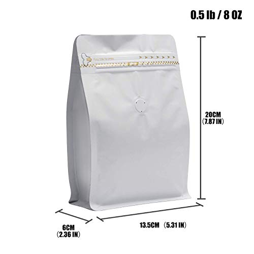 30 Count ½lb/8oz Stand Up Coffee Bag/Flat Bottom Pouch with Air Release Valve and Reusable Side Zipper/Smell Proof Bags (White)