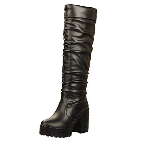 Ginocchio 47 Black Stivali JOJONUNU Tacco Donna Blocco a Svaqg4Oq