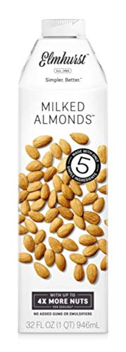 Elmhurst Milked - Almond Milk - 32 Fluid Ounces (Pack of 2) Only 5 Ingredients, 4X the Protein, Non Dairy, Keto Friendly, No Added Gums or Emulsifiers, Vegan