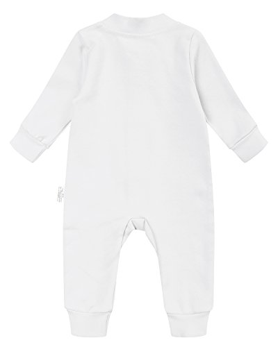 Kidsform Infant Baby Girl Boy Organic Cotton Zip Up Footless Romper Onesies Bodysuits Pajamas Off White 12-18M