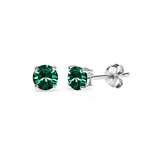 Sterling Silver 4mm Green Stud Earrings Made with Swarovski Crystals
