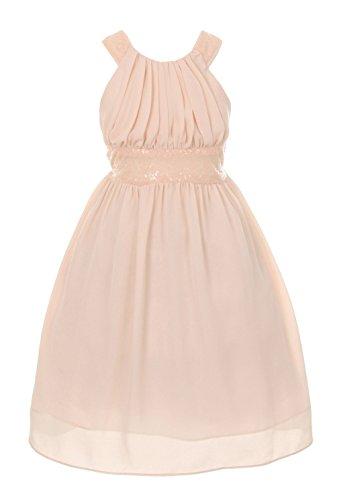 Cinderella Couture Big Girls' Sequin Dress Criss Cross Back Blush 14 5004