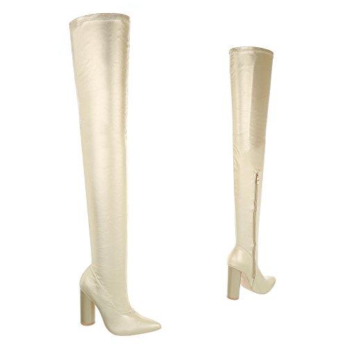 Ital-Design Overknees Damenschuhe Overknees Pump High Heels Reißverschluss Stiefel Gold JR-008