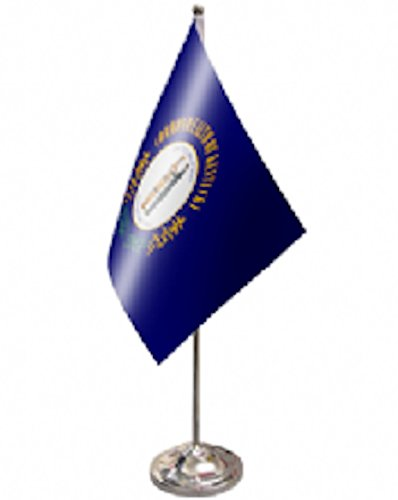 Kentucky US State Satin and Chrome Office Desk Table Flag