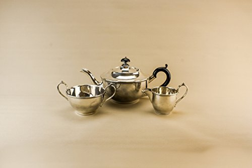 Vintage Elegant Bowl Tea Set Teapot Creamer Serving Large Art Deco Silver Plated Metal Unique Coffee 1920s English LS