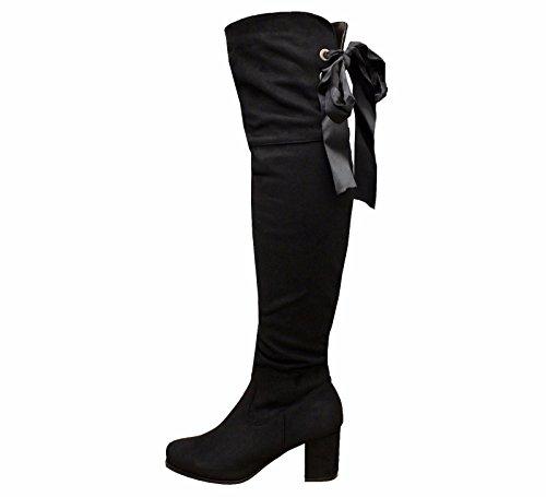 Haut Talons Styles Lacets Saute 3 Du En Cuisse 8 Noir Ruban Au dessus Mid Femmes Bottes Daim Genou Taille APqdP0w