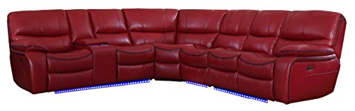 "(Homelegance Pecos 117"" Power Reclining Sectional with LED, Red)"