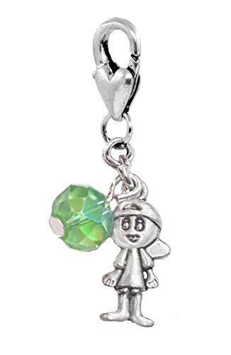 Baby Birthstone August Boy Green Crystal Clip Charm for Bracelets (August Birthstone Charm Boy)
