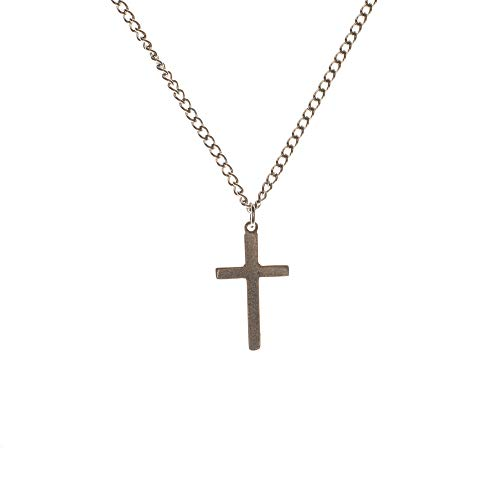 Dicksons Traditional, Beveled Cross in Satin Finish Brushed Pewter 18-Inch Pendant Necklace