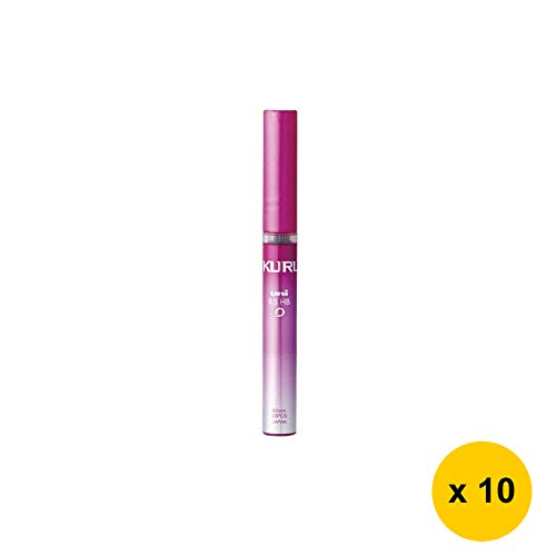 Uni KURU TOGA UNI0.5-203 0.5mm HB Refill Leads (Pack of 10) - Pink Case (with Free 5-Color Sticky Notes)