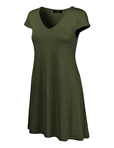 Water Womens Cap Sleeve T-shirt - MBJ WDR1068 Womens V Neck Cap Sleeve T Shirt Dress S OLIVE