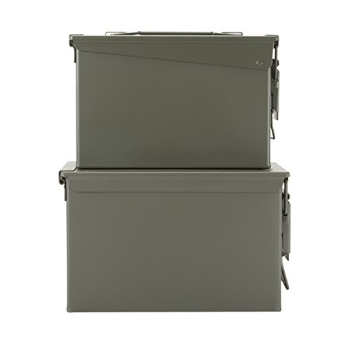 New Military Surplus Steel Ammo Can Double Pack with 50 Caliber Ammo Can (M2A1) and 30 Caliber Ammo Can (M19A1) Made in USA by Milspec Military Manufacturer (In Made Usa Surplus Military)