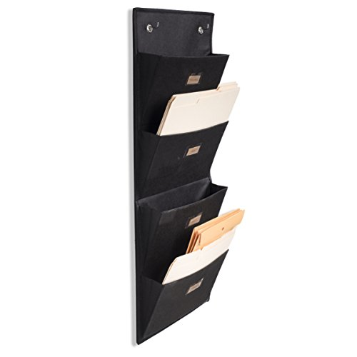 Wallniture Archivo Hanging File Folder Holder - Document Organizer with Label Tabs 4-Sectional Canvas Black - Set Hanger Pocket Four