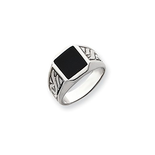 Ring Onyx Dad (ICE CARATS 14kt White Gold Mens Black Onyx Band Ring Size 10.00 Man Fine Jewelry Dad Mens Gift Set)