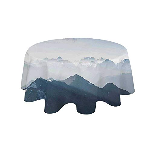 Ice Rock Climbing - YOLIYANA Farmhouse Decor Waterproof Round Tablecloth,Fog Morning in Rock Mountain Region in Northern Hiking Climbing Ice Photo for Living Room,23.6
