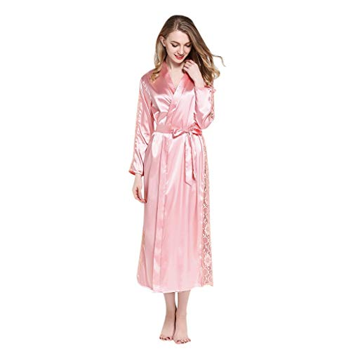 Women's Sleepwear Classic Tied Waist Pajamas Comfy Casual Underwear Temptation Lace Loose Big Nightdress Robe Bathrobe ()