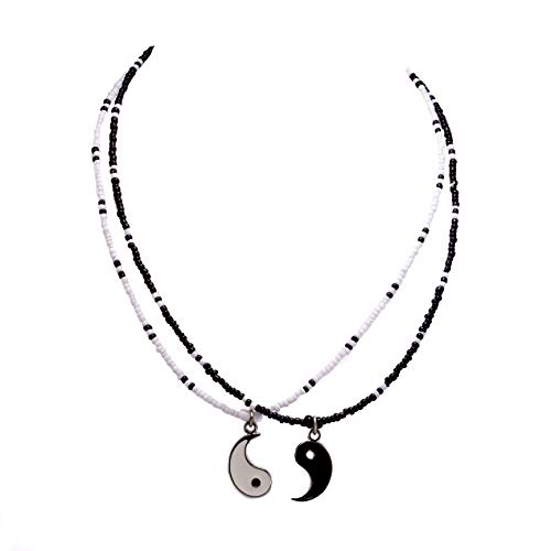 BlueRica Friends/Couples Yin Yang Pendant on Seed Beads Necklace Set (Yin Yang Necklaces)