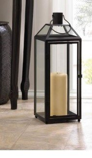 Candleholders Lanterns Midtown Large Black Lantern Black Iron Clear Glass Panels -