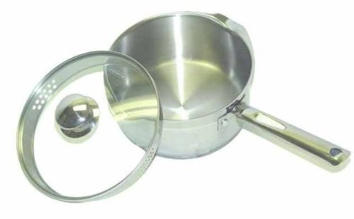 WearEver A83424 Cook and Strain Stainless Steel Sauce Pan with Glass Straining Lid Cookware, 3-Quart, Silver