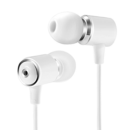Senhomtog Wired Metal Earphones with Microphone,Classic Heavy Bass Stereo Earbuds In-ear Headphones with Volume Control Sport Running Headset for iPhone iOS Android 3.5mm jack(White)
