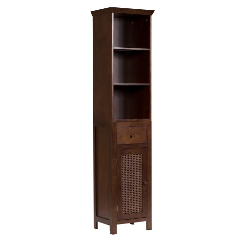 Elegant Home Fashions Shelved Linen Tower with Drawer and Cane-Paneled Cupboard, Cane Brown