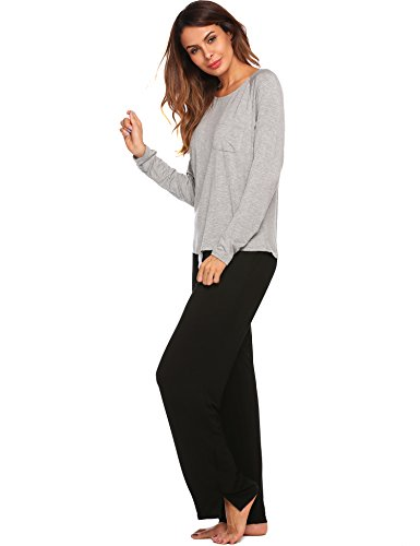 Ekouaer Womens Cotton PJS Long Sleeve Round Neck Pajama Set Sleepwear