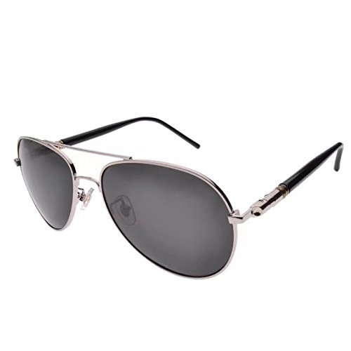 JCERKI Men Aviator Sunglasses Polarized Nearsighted Myopia Distance -1.50 Strengths Silver - Sunglasses Nearsighted