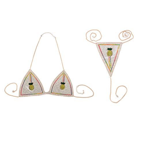 (Holylove Pineapple Body Chain Bikini Bra Set Underwear Jewelry Sexy for Women Summer Hawaiian Beachwear Pool Dance Party Clubwear with Gift Box - BN17)