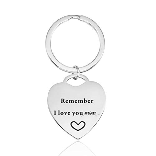 (Mom Mother Gifts Keychain Remember I Love You Mom Heart Key Tag Birthday Christmas Mothers Day Gifts Ideas from Daughter)