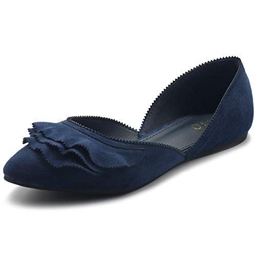 Ollio Women's Shoes Faux Suede Slip On Scallped Collar Pointed Toe Ballet Flats ZY00F70 (7 B(M) US, Navy)