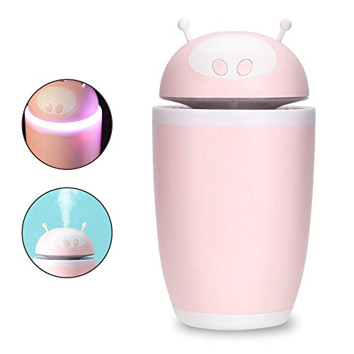 FOONEE Mist 10-Hour Humidifier USB Humidifier Cute Alien Shape Air Humidifier with 7 Color LED Night Light for Home Office 500ml ()