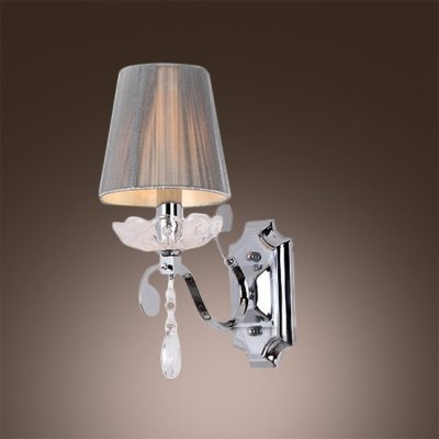Canopy Crystal Clear - hua Contemporary Graceful Wall Sconce Features Polished Chrome Finish Iron Canopy and Clear Crystal Bobeche and Drop