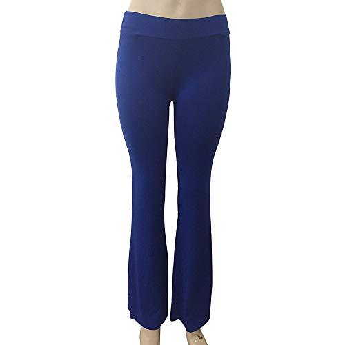 Pantalon Unie Pour Taille Amuster De Et Stretch Femmes Jambe Bleu Haute Couleur Large À dpY8q7Yw
