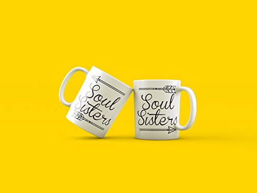 TWO SOUL SISTERS Mugs, Best Friend Mugs, Happy Birhday Best Friend, Soul Sister Coffee Mugs, Gifts for Sisters, Bridesmaids Gifts, Gift for Her Coffee Mug Bib