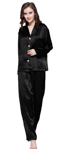 Schwarz 22 Nachtwäsche Lang Momme LilySilk Damen Nachtkleid Seiden n0fdq0I7W