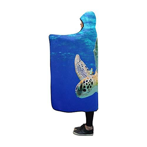 - YUMOING Hooded Blanket Green Sea Turtle Swimming Caribbean Blanket 60x50 Inch Comfotable Hooded Throw Wrap